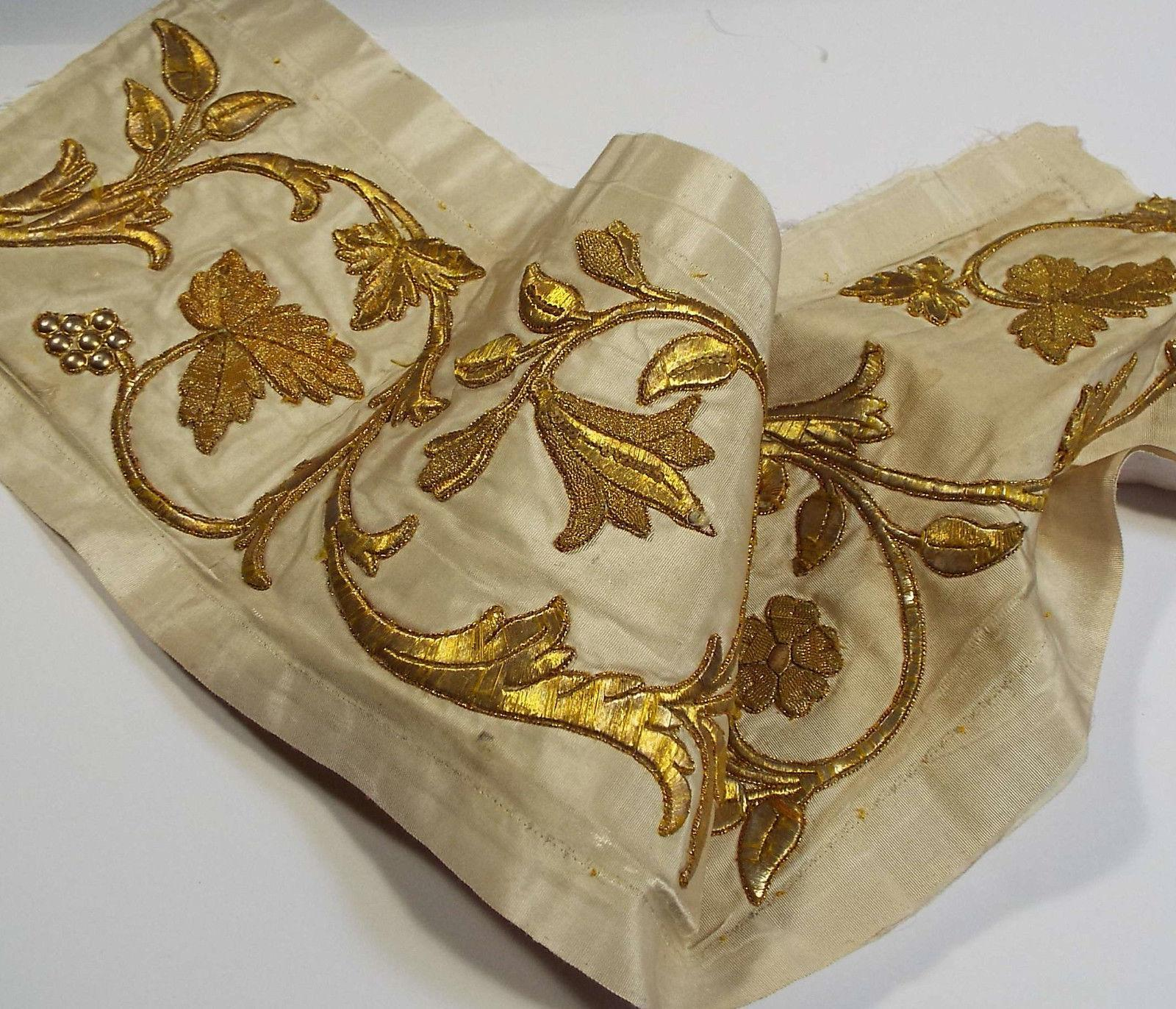 Antique French Embroidered Silk Panel Metallic Gold Stump Work Flowers
