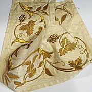 Antique French Gold Metallic Stump Work Embroidered Silk Panel Floral Decor