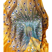 Antique Chinese Embroidered Yellow Silk Hanging Peacock