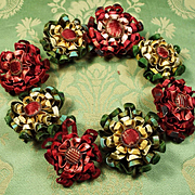 Antique French Wired Lyon Silk Flowers EIGHT