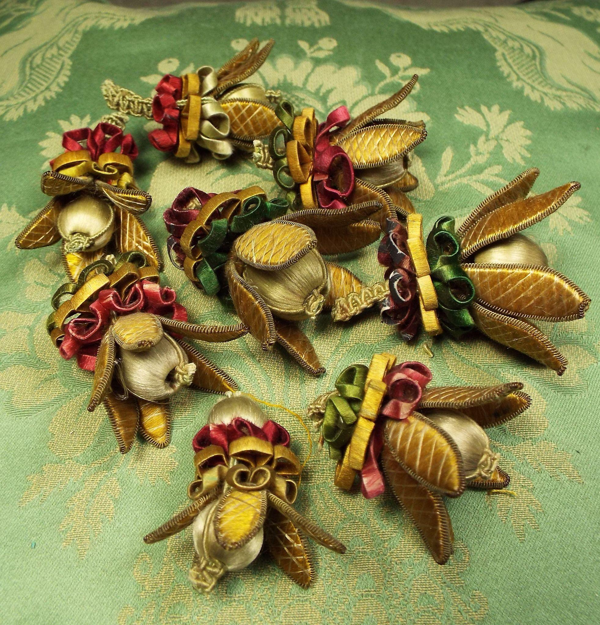 Antique Lyon silk Hand Make Wired Flowers EIGHT