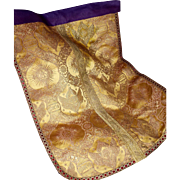 Antique French Gothic Gold Metallic Silk Brocade Religious Panel Angels Cherubs