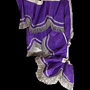 Antique French Purple Moire Silk Valance Pelmet Silver Metallic Fringe and Trims