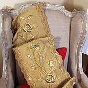 Antique French Embroidered Cloth of Gold Panel Gold Metallic Floral Stump Work