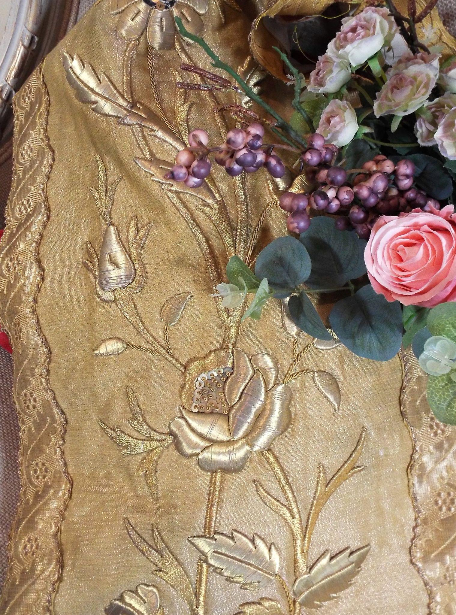 Antique French Floral Panel Gold Metallic Stumpwork Embroidery Roses