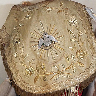 Antique French Religious Textile Embroidered Gold Metallic Stump Work Silk Pelican