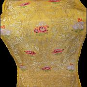 Antique French Lyon Silk Brocade Panel Floral Decor Silver Metalllic Weaving