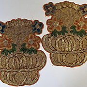 Antique French Gold Metallic Embroidered Applique Basket of Flowers