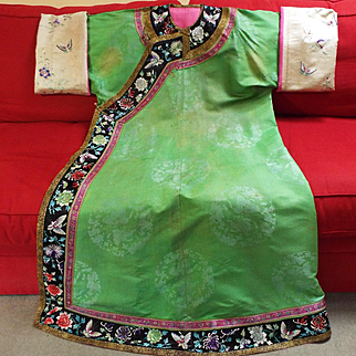 Antique  Chinese Jade Green Silk Damask Robe Embroidered Sleeve Bands