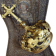 Antique French Dore Bronze Santos Crown Religious Catholic Church