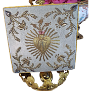 Antique French Challis Cover Gold Metallic Embroidery Religious Sacred Heart Catholic Church