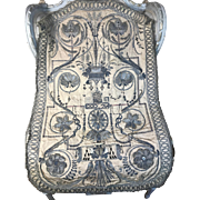 18th Century Religious Heraldic Chasuble Silver Metallic Embroidered Armorial Coat of Arms