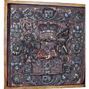 18th Century Embroidered Lord Chancellors Purse Metallic Stumpwork Armorial Coat of Arms RARE