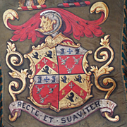 Antique English Armorial Trumpet Banner Coat of Arms Heraldic Banner Oil on Silk