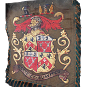 Antique English Armorial Trumpet Banner Sherif Coat of Arms Heraldic Banner Oil on Silk