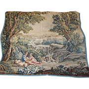 17th Century French Aubusson Tapestry Hanging Pastoral Romantic Scene