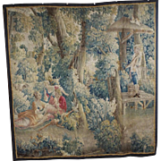 17th Century French Aubusson Tapestry Pastoral Romantic Scene SUPERB