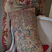 Antique French Aubusson Tapestry Bolster Pillow Mythical Griffin Flowers
