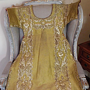 Antique French Religious Chasuble Vestment Front Gold Metallic Embroidered Flowers