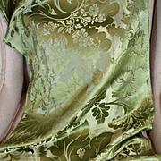 18th Century French Lyon Silk Damask Panel Flowers Green