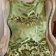 18th Century French Lyon Silk Damask Panel Floral Green