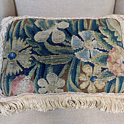 17th Century French Aubusson Tapestry Panel Pillow Flowers