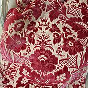 18th Century Italian Cut Silk Velvet Panel Florentine Flowers