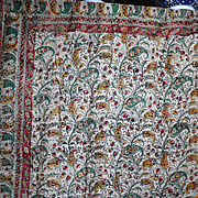 Antique Kalamkari Block Printed Portiere  Chateau Curtain Indienne Palampor Design