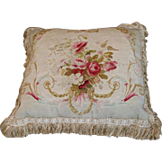Antique French Aubusson Tapestry Weave Pillow Flowers Silk Tassel Trims