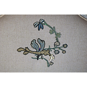 17th Century Embroidered Crewework Slip Antique Spot Motif Applique Dragonfly
