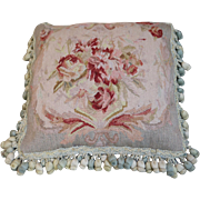 Antique French Aubusson Tapestry Pillow Cushion Flowers Silk Tassel Passementerie