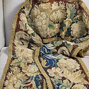 17th Century French Aubusson Verdure Tapestry Border Panel Flowers