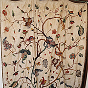 Antique English Crewelwork Embroidery Hanging Jacobean Flowers Birds Tree of Life
