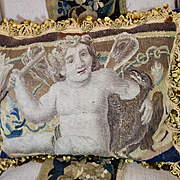 17th Century Brussels Tapestry Panel Winged Cherub Antique Aubusson Pillow