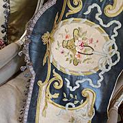 Valance Curtain Pelmet Antique French Silk Velvet Embroidery Flowers Ribbons