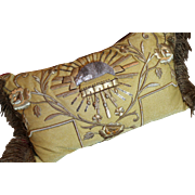 Antique French Pillow Gold Metallic Embroidery Stumpwork Lamb of God