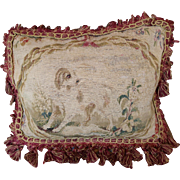 Antique French Aubusson Tapestry Pillow  DOG Spaniel