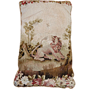 Antique French Aubusson Tapestry Pillow  LION BEE