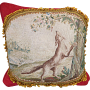 Antique French Aubusson Figural Tapestry Pillow  FOX BUTTERFLY