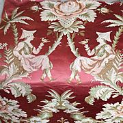 Rare Antique French Lyon Silk Brocade Figural Chinoiserie Design Love Birds Flowers