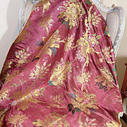 18th Century French Lyon Silk Brocade Fabric Cover Flowers Fruit Corn