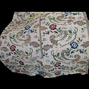 18th Century English Spitalfields Silk Brocade Flowers Metallic Threads Antique Fabric
