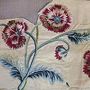 18th Century English Silk Embroidered Flowers Antique Needlework
