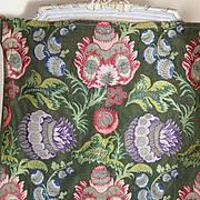 Antique French Woven Silk Brocade Pomegranates Metallic Threads