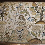 17th Century English Embroidery Eve in Garden Animals Squirrel, Monkey, Deer Stump Work