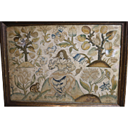 17th Century English Embroidery Eve in Garden Animals Squirrel, Monkey, Deer Stump Work