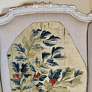 Antique French Aubusson Verdure Tapestry Panel 17th Century Weaving Flowers Fruit