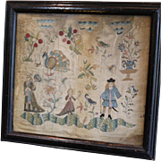 RARE Antique Chinese Silk Embroidery European Subject