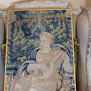17th Century French Aubusson Tapestry Panel Young Woman Playing Lute Musical