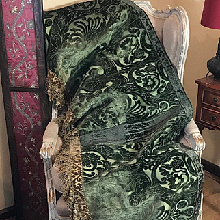 18th Century Italian Valance Pelmet Cut Silk Velvet Passementerie Trim